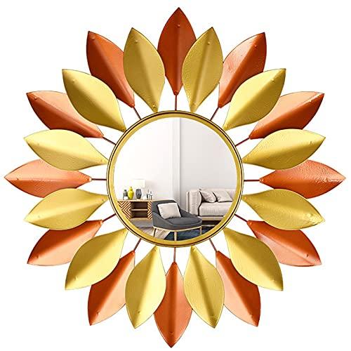 CJW-LC Espejo De Pared Decorativo De Metal Vintage, 27.5 Pulgadas Espejo Decorativo Estilo Sol Espejo Colgante De Pared 3D Sunburst para Sala De Estar, Baño, Dormitorio,27.5 Inches