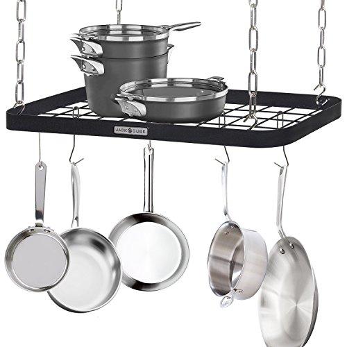 JackCubeDesign Ceiling Mount Grid Pot Pan Rack Hanger Organizer Kitchen Storage Shelf Tray Holder with Utility 8 Hooks244 x 118 x 12 inches – :MK397B