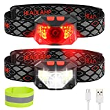 LED Headlamp Flashlight, 1000 Lumens Bright Rechargeable Headlamp, 8 Modes Waterproof Headlight with Red Safety Outdoor Headlight- Adults, KidsUsed for Cycling Camping Running Outdoor Fishing 2 Packs