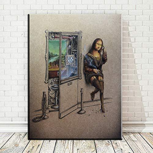 HD-Druck Kunst Leinwanddruck Poster Mona Lisa trinken Bier Malerei Wanddekoration Leinwand Malerei Wandbild rahmenlose Wohnkultur Malerei A28 50x70cm