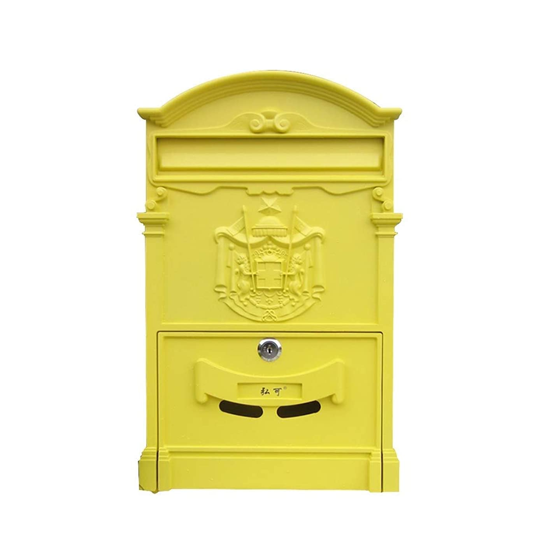 協力的花火質素なヨーロッパのレトロクリエイティブヴィラレターボックス屋外防水壁ポストポストの提案ボックスロックされた新聞雑誌ボックスメールボックス (色 : C)