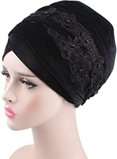 Fashian Lady Lace Velvet Muslim Turban Pleated Head Wrap Scarf Long Tail Hat Pre Tied Headwear Cancer Chemo Cap WJ-08 (Color : 2, Size : 170 * 26CM)
