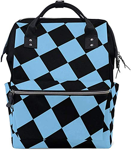 Daypacks zwart blauw geruite vierkanten reis papa waterdicht grotere capaciteit stijlvolle luiertas mummierugzak muti-functie babyverzorging druk moer rugzak mummiezak