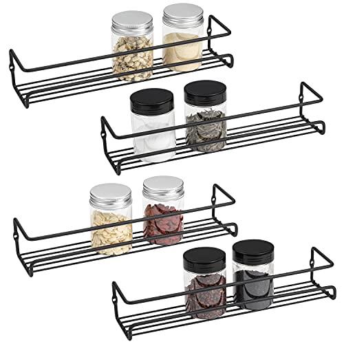 ROFAY Organizador de especias, 4 unidades de estante montado en la pared con adhesivo y tornillos para especias, hierbas, tarros y otros en armarios, cocina, armarios, despensa