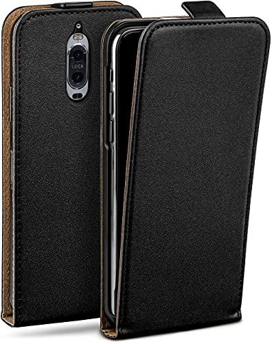 moex Flip Hülle für Huawei Mate 9 Pro Hülle klappbar, 360 Grad R&um Komplett-Schutz, Klapphülle aus Vegan Leder, Handytasche mit vertikaler Klappe, magnetisch - Schwarz