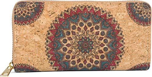 styleBREAKER Damen Geldbörse aus Kork mit Buntem Ethno Ornament Muster im Mandala Stil, Reißverschluss, Portemonnaie 02040147, Farbe:Bordeaux-Rot-Petrol