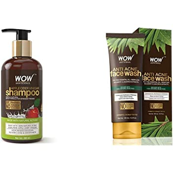 Wow Apple Cider Vinegar No Parabens & Sulphate Shampoo, 300Ml And Wow Skin Science Anti Acne Face Wash - Oil Free - No Parabens, Sulphate, Silicones & Color (100Ml)