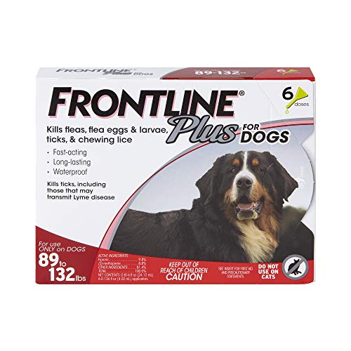 FRONTLINE Plus Flea and Tick Treatment for Dogs (Extra Large Dog, 89-132 Pounds, 6 Doses)