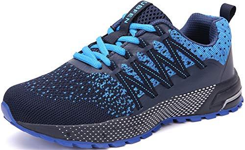 SOLLOMENSI Chaussures de Sport Running Basket Homme Femme Course Trail Entraînement Fitness Tennis Respirantes 46 EU H Bleu