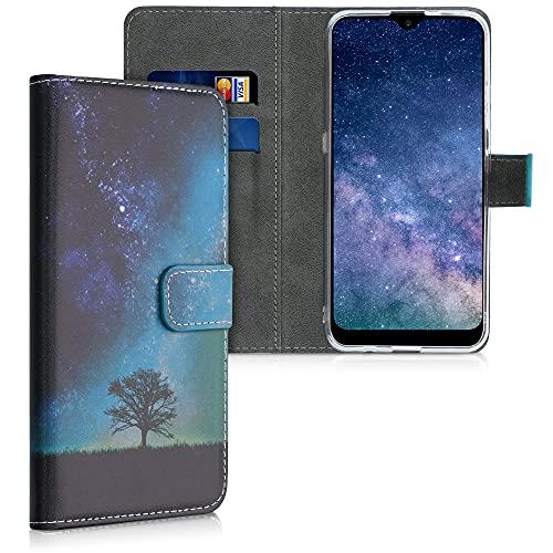 kwmobile Wallet Hülle kompatibel mit LG K22 - Hülle mit Ständer Kartenfächer Galaxie Baum Wiese Blau Grau Schwarz