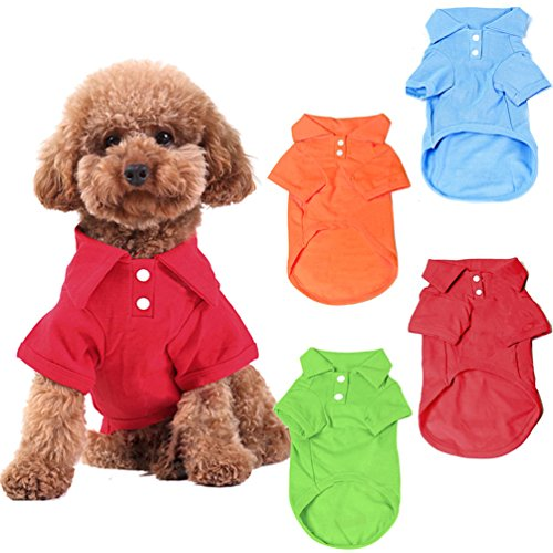 KINGMAS 4 Pack Dog Shirts Pet Puppy T-Shirt Clothes Outfit Apparel Coats Tops - Small