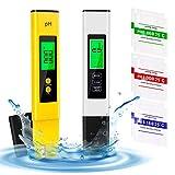 Yodeace Medidor PH, Medidor TDS EC Temperatura Medidor 4 En 1 con 6 Polvos de Calibración para PH Piscina Agua Potable Acuario Rango de Medición 0-14.0 pH, 0-9990 ppm