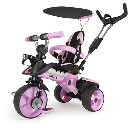 Dreirad in Rosa für Kinder ab 6 Monaten mit Sicherheitsbügel und Anti-Rutsch Pedalen City Pink