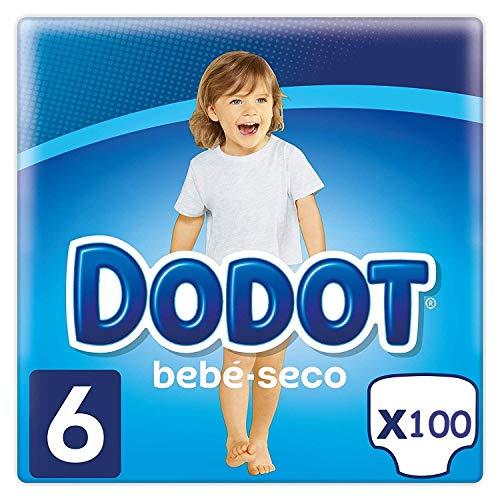 DODOT Bebé-Seco Pañales Talla 6, 100 Pañales, Pañal con Canales de Aire, 13+ kg, pañales para bebe para una piel seca y aireada