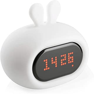 HUGMO Bunny Clock Nightlight, Alarm Clock, LED Fun Faces, Rechargeable, Soft Silicone Child Friendly