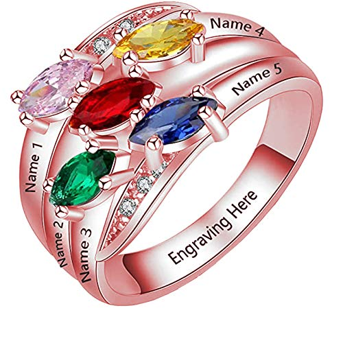 Name Rings Personalized 925 Silver Ring with 5 Names 5 Birthstones, Engraved Family Names Mothers Day Gift for Mom(6.5)