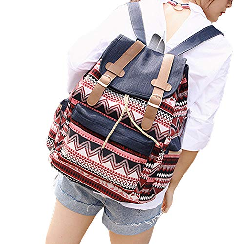 Made of high quality of Canvas,providing long-lasting durability against daily activities. Featuring ethnic geometric print, add sparkle to your everyday style. Large enough to hold your umbrella, wallet, makeup, books, phone, tablet, etc. Adjustable...