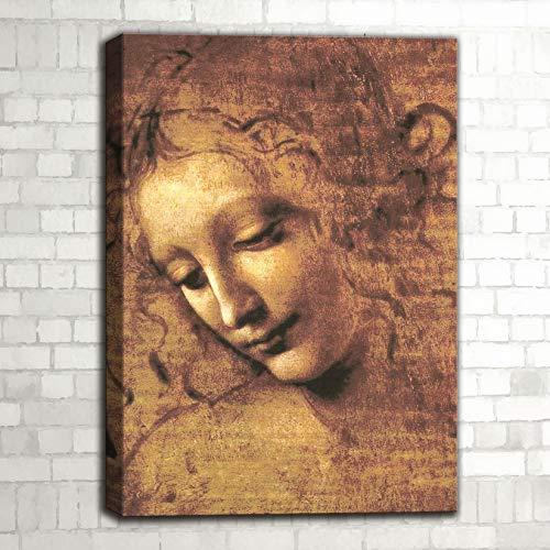 """Quadro riproduzione d'autore """"La Scapigliata"""" di Leonardo Da Vinci"""
