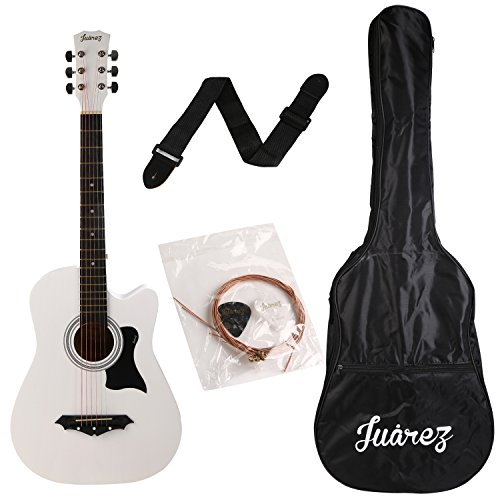 Juârez JRZ38C/WH 6 Strings Acoustic Guitar 38 Inch Cutaway, Right Handed, White with Bag, Strings, Picks and Strap