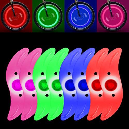 MGRETT Luci LED per raggi della bicicletta, 4 colori, 3 modalità, luce per raggi della bicicletta, impermeabile, alta visibilità per bicicletta, mountain bike, auto da corsa (8 pezzi)