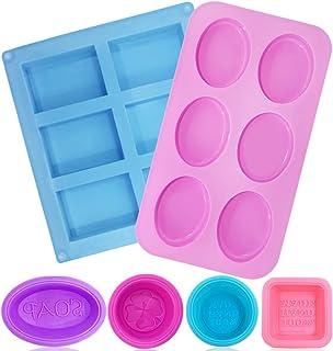 FineGood - Moldes de jabón de silicona para hacer jabón, 6 moldes rectangulares y elipse para 6 bandejas de horno para magdalenas, magdalenas, magdalenas, pudín