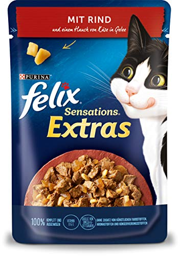 FELIX Sensations Extras Katzenfutter nass in Gelee, mit Rind und Käse, 26er Pack (26 x 85g)