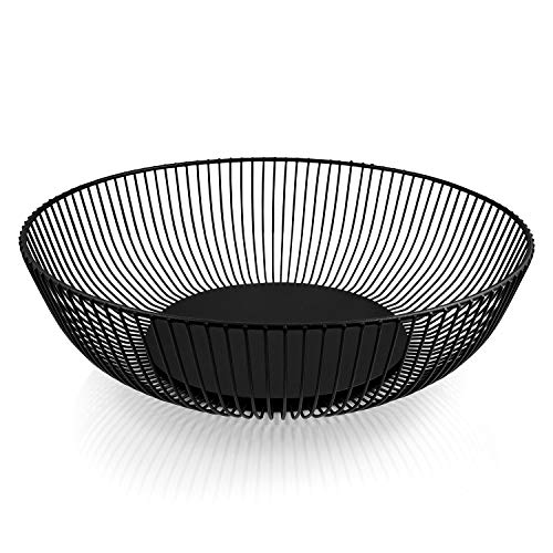 """HEYNNA® """"Pure"""" Obstschale aus Edelstahl in schwarz matt / Metall Obstkorb mit großem Fassungsvolumen – Skandinavische Deko - 28cm"""