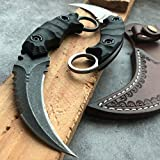 HOLYEDGE Heavy Duty Pocket Tactical Fixed Blade Karambit Knife G10 Handle D2 Blade Double Edged Strike Hunting Knifes CSGO Claw Knives (Black)