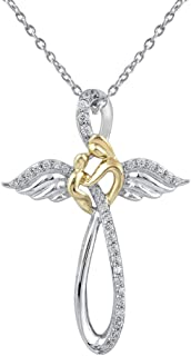Cross Diamond Necklaces in 925 Sterling Silver Religious Pendant Studded with Real Natural Diamonds and 18 Inches Silver Chain by Pipa Bella (White)