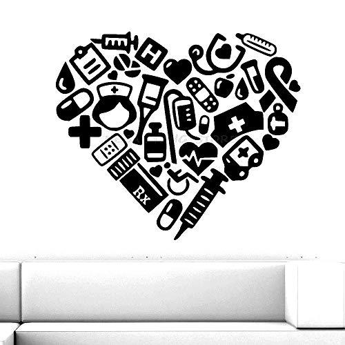 Adhesivo de pared en forma de corazón médico, decoración de clínica Dental de Hospital, decoración creativa de habitación, adhesivo de pared, papel de vinilo