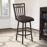 Armen Living Olympia 26' Counter Height Swivel Barstool in Bandero Espresso Fabric and Auburn Bay Finish