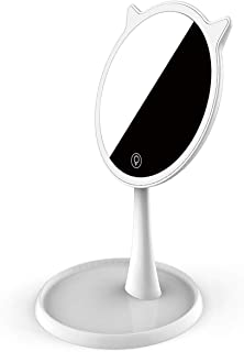Friengood LED Lighted Makeup Mirror, Bright Light Vanity Makeup Mirror with Touch Screen, USB Rechargeable and 75° Adjusta...