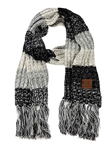 C.C Women's Long Multicolored Warm Cable Knit Shawl Wrap Tassel Scarf-Black/Grey