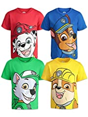 Pack of 4 brightly colored Paw Patrol tees Featuring Marshall in red, Rubble in yellow, Rocky in green and Chase in blue Short sleeves and ribbed collar Perfect for birthday gift, outdoor play or every day wear Machine wash cold; officially licensed