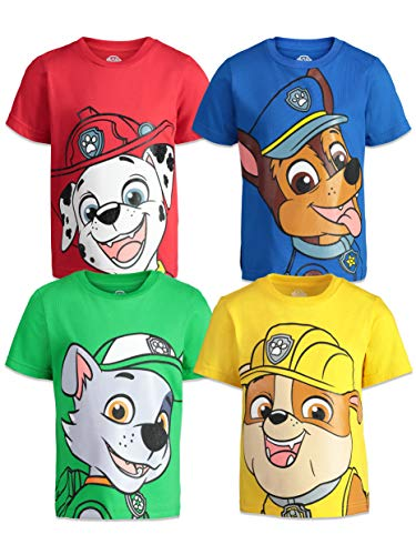 Paw Patrol Toddler Boys 4 Pack T-Shirts Marshall Chase Rocky Rubble 2T