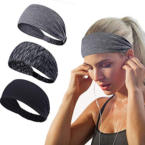 Joyfree Workout Headbands for Women Men Sweatband Yoga Sweat Bands Elastic Wide Headbands for Sports Fitness Exercise Tennis Running Gym Dance Athletic