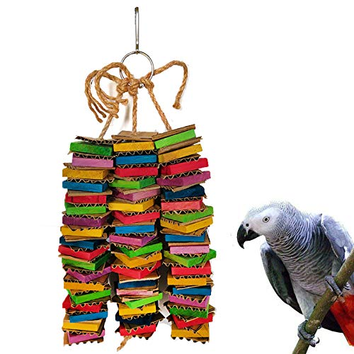 Coppthinktu Parrot Toys for Large Birds, Cardboard Big Bird Toys African Grey Parrot Toys Natural Wooden Bird Cage Chewing Toy with Clip for Small Medium and Large Parrots and Birds