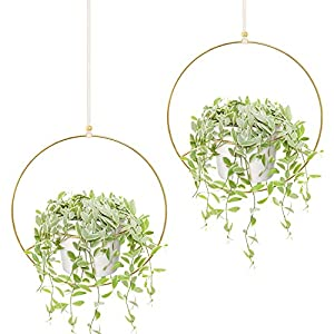Mkono Boho Hanging Planter, Set of 2 Round Metal Plant Hanger with Plastic Plant Pot, Modern Wall and Ceiling Planter Mid Century Flower Pot Holder, Fits 6 Inch Planter (Plastic Pots Included), Gold