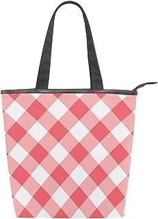 ISAOA Große Einkaufstasche aus Segeltuch, Rosa kariert, Weiß, Handtasche Strand Tote Bag für Mädchen und Frauen