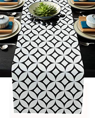 FAMILYDECOR Camino de mesa de arpillera de lino para mesas de comedor de 33 x 177 cm, diseño geométrico simple de casa de campo para fiestas de vacaciones, cocina, decoración de boda