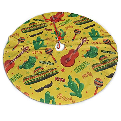 Fiesta Party Dancing Tree Skirt for Xmas Decor Festive Holiday Decoration 36