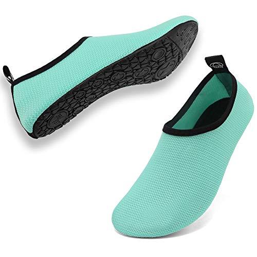 Deevike Wasserschuhe Strandschuhe Schwimmschuhe Barfussschuhe Yoga Aqua Schnell Trocken Socken für Damen Herren Grün-42/43