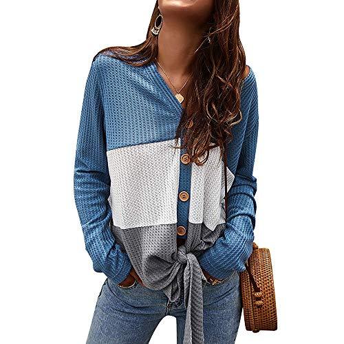Mujer Cárdigan de Punto con Botones Henley con Cuello en V Suéter de Gofre con Nudo Suelto Camisa (Azul, M)