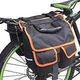 UNISTRENGH Bicycle Back Pannier Bags Bike Rear Seat Bag Cycling Rack Grocery Pannier Road Moutain Bike Storage Bag (Black with Orange Edge)