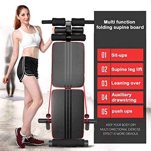Sit-up Bench Decline, Erwazi Foldable Crunch Board Utility Exercise Bench for Home Sit-ups, Twists, Core Strengthening Exercises with Resistance Bands