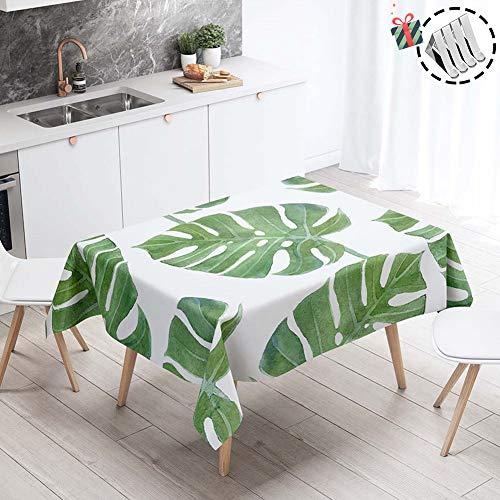 Stillshine Tovaglie da Tavola Antimacchia, Rettangolare/Quadrata Impermeabile Moderne Eleganti 3D Stampa Tovaglia Lavabile per Cucina Compleanno Decorazione (Verde Monstera,100x140cm)