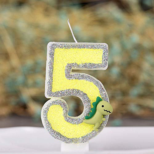 """Large Dinosaur Glitter Birthday Number Candle, 3"""" Tall"""