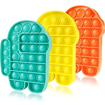 3 Packs Pop Poop Bubble Fidget Toy It, Stress Relief Satisfying Squeeze Sensory Anxiety ADHD Cheap fidgets Figetget Poppop Poppits Figit Stuff Kid Girl Boy Us, New Teal Yellow Green by Aucma