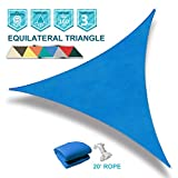 Coarbor 16' x 16' x 16' Triangle Blue UV Block Sun Shade Sail Perfect for Patio Outdoor Garden