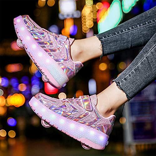 WOFEI LED Luz Moda Aire Libre Parpadea Ajustable Rueda Roller Automática De Skate Zapatillas con Ruedas Zapatos Patines Deportes Zapatos Sneakers Running Shoes para Unisex Niños Niñas,34